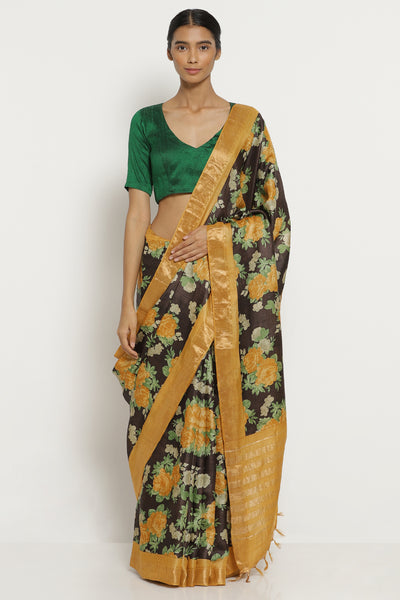 Via East coffee brown handloom pure tussar silk saree with all over floral print