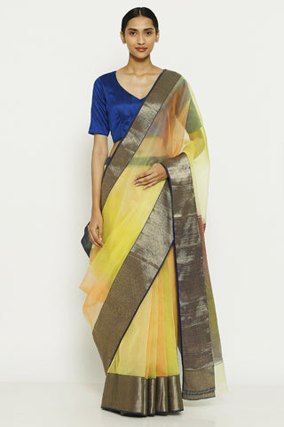 Yellow Handloom Pure Silk Chanderi Saree with Ombre Effect and Gold Zari Border