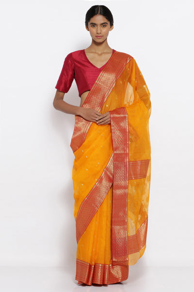 Via East yellow handloom pure silk chanderi sheer saree with all over zari motifs and rich zari border