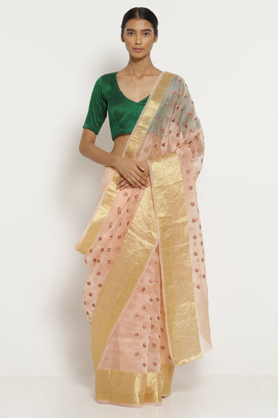 Via East powder pink handloom pure silk organza saree with all over embroidered floral motifs
