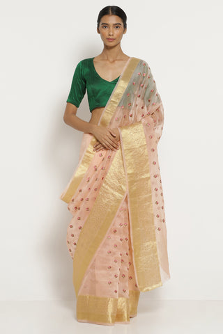 Powder Pink Handloom Pure Silk-Organza Saree with All Over Embroidered Floral Motifs