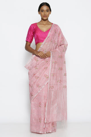 Dusty Pink Linen Saree with All Over Floral Embroidery