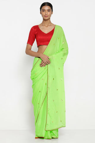 Lime Green Chiffon Saree with All Over Hand Embroidered Gota Patti Work and Contrasting Red Border