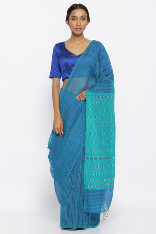 Blue Handloom Pure Silk Cotton Saree with Checked Pattern and Embellished Pallu