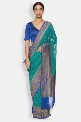 Teal Blue Handloom Pure Silk-Georgette Banarasi Saree with All Over Bird Motifs