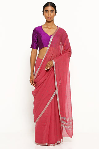 Plum Red Pure Chiffon Saree with All Over Traditional Mukaish Work
