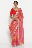 Deep Pink Pure Linen Saree with All Over Checks and Silver Tissue Border