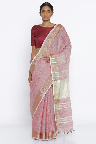 Via East red handloom pure silk linen saree with melange texture and gold zari border