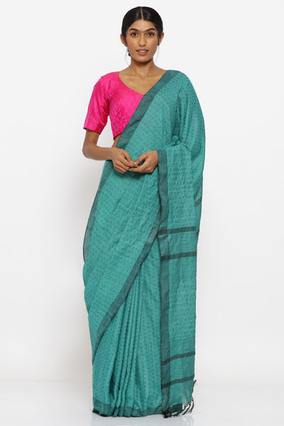 Via East green handloom pure cotton saree with allover geometric motif