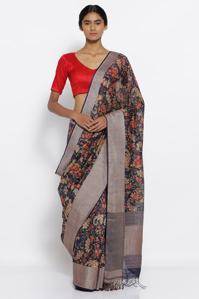 Via East dark blue pure matka handloom saree with all over floral prints and an elaborate woven border