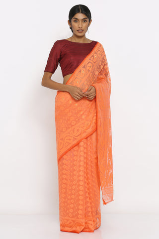 Coral Jamdani Saree with Self Weave Motif and Paisley Border
