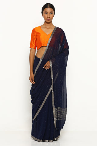 Deep Blue Pure Chiffon Saree with All Over Traditional Mukaish Work