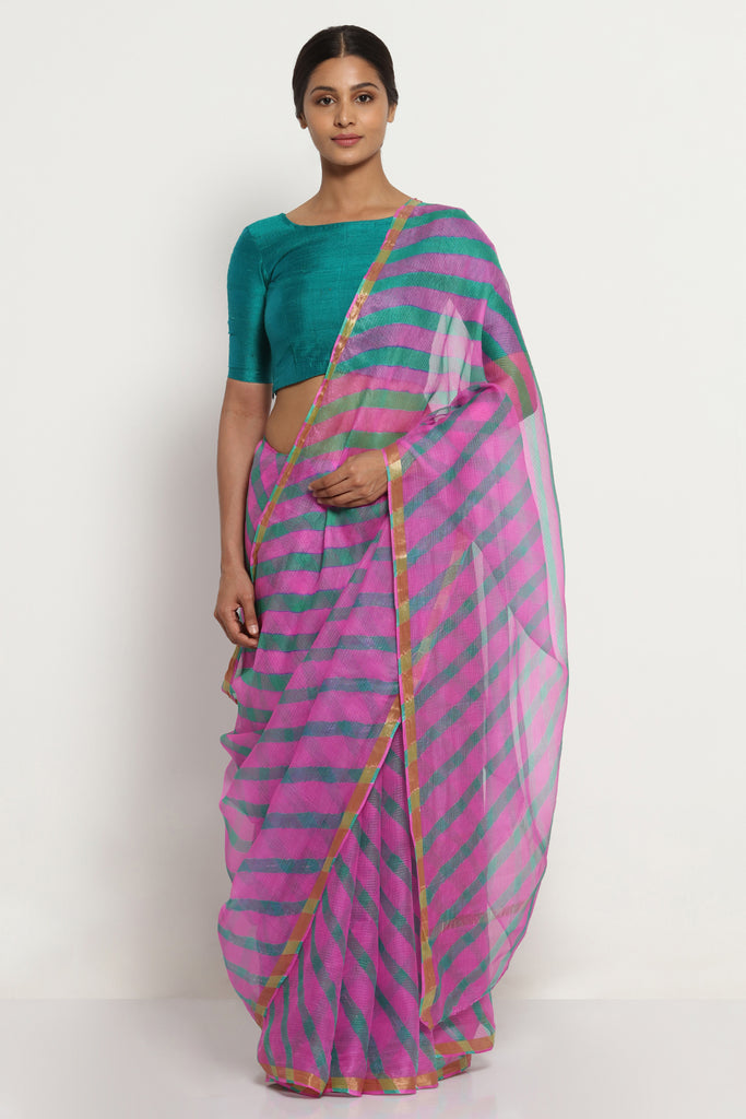 Pink Green Pure Silk Kota Doria Saree with Traditional Leheriya Print and Gold Zari Border