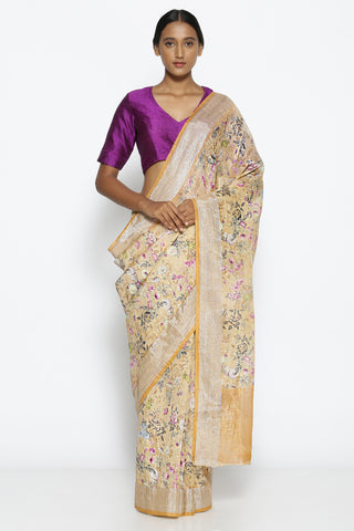 Sandalwood Yellow Linen Silk Saree with All Over Floral Print