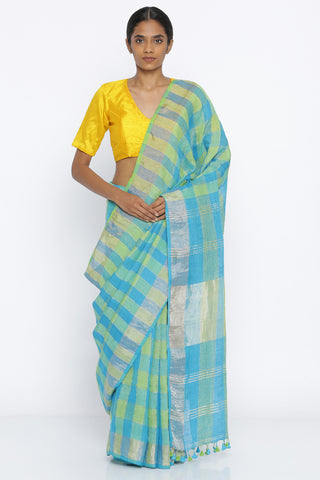 Blue-Green Handloom Pure Linen Saree with Gold Zari Checked Pattern