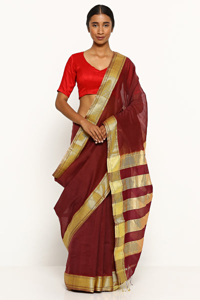 Via East ruby red handloom silk cotton maheshwari saree with gold zari border