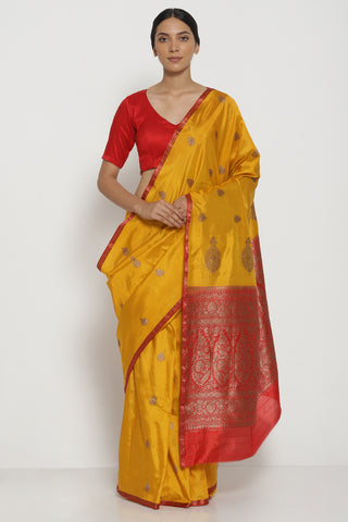 Yellow Orange Handloom Pure Silk Banarasi Saree with Antique Gold Zari Border and Striking Blouse