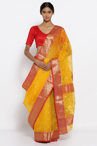 Yellow Handloom Pure Silk Chanderi Sheer Saree with All Over Zari Motifs and Contrasting Red and Gold Border