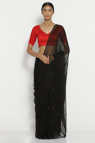 Black Chiffon Saree with All Over Embellishment