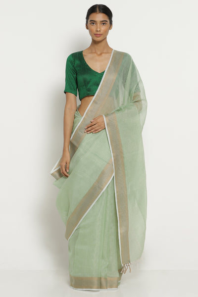 Via East green tussar tissue kota saree with woven border