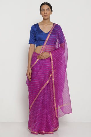 Purple Pure Silk Kota Doria Saree with Traditional Leheriya Pattern