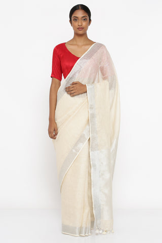 Off White Pure Linen Saree with Silver Zari Border and Woven Pallu