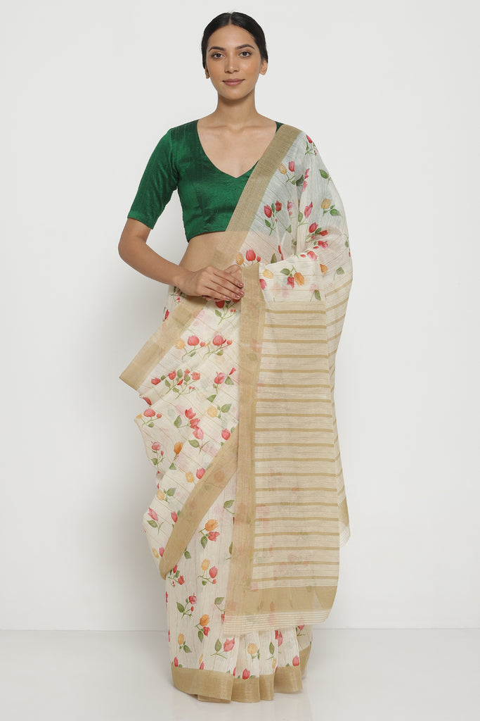 White Pure Linen Cotton Saree with All Over Floral Motifs and Striped Pattern