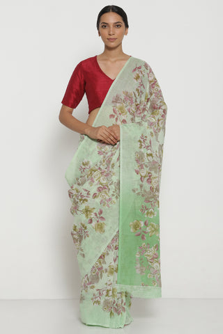 Light Green Pure Linen Saree with All Over Watercolour Florals