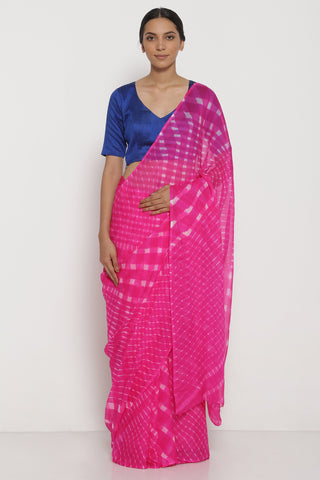 Fuschia Pink Pure Chiffon Saree with Traditional Leheriya Pattern