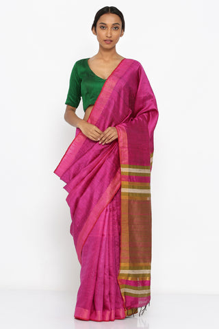 Magenta Handloom Pure Tussar Silk Saree with Moss Green Pallu
