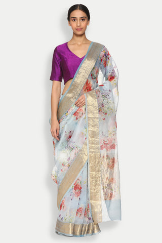 Powder Blue Pure Silk-Organza Sheer Saree with Detailed Woven Zari Border