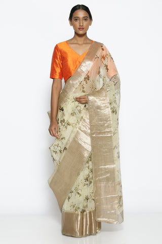 Pale Green Pure Silk-Organza Saree with with Floral Print Over Zari Checks