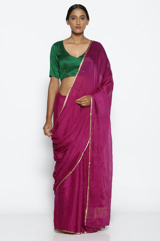 Purple Pure Crepe Saree with All Over Mukaish Work