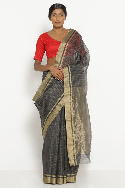 Via East dark grey handloom silk cotton chanderi saree with all over zari checks