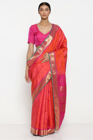 Cerise Pink Handloom Pure Silk Kanjeevaram Saree with Pure Zari Motif and Border