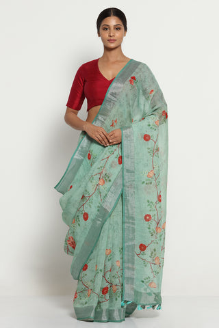 Ash Green Pure Linen Saree with All Over Floral Print and Silver Zari Border