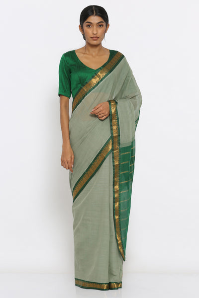 Via East earthy green handloom cotton gadwal saree with intricate border and striped pallu