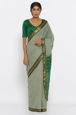 Earthy Green Handloom Cotton Gadwal Saree with Intricate Border and Striped Pallu