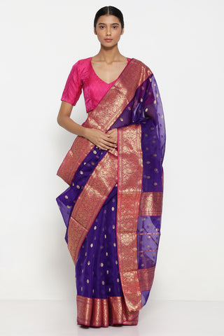 Violet Handloom Pure Silk Chanderi Silk Sheer Saree with All Over Zari Motif and Rich Traditional Border