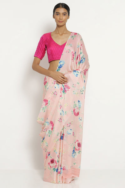 Via East powder pink silk satin saree with all over floral print