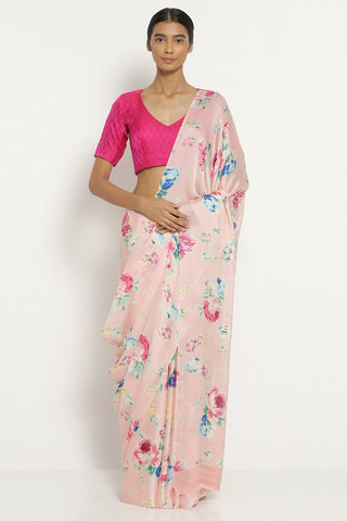 Powder Pink Silk Satin Saree with All Over Floral Print