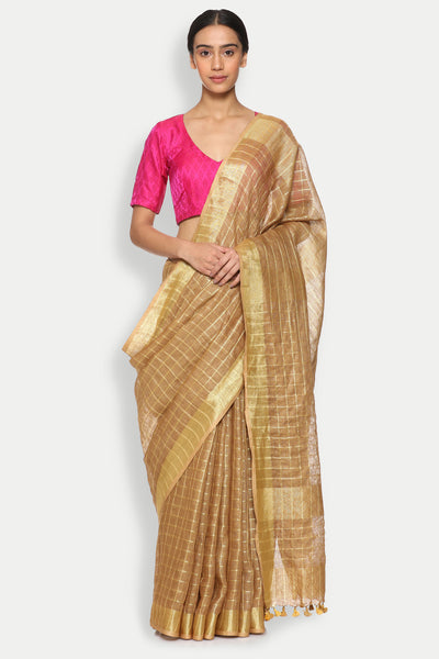 Via East copy of tawny brown pure linen saree with all over checked pattern