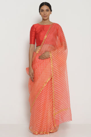 Apricot Peach Pure Silk Kota Saree with Traditional Leheriya Pattern