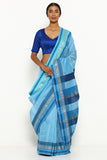 Light Blue Handloom Silk Cotton Maheshwari Saree with Silver Zari Border
