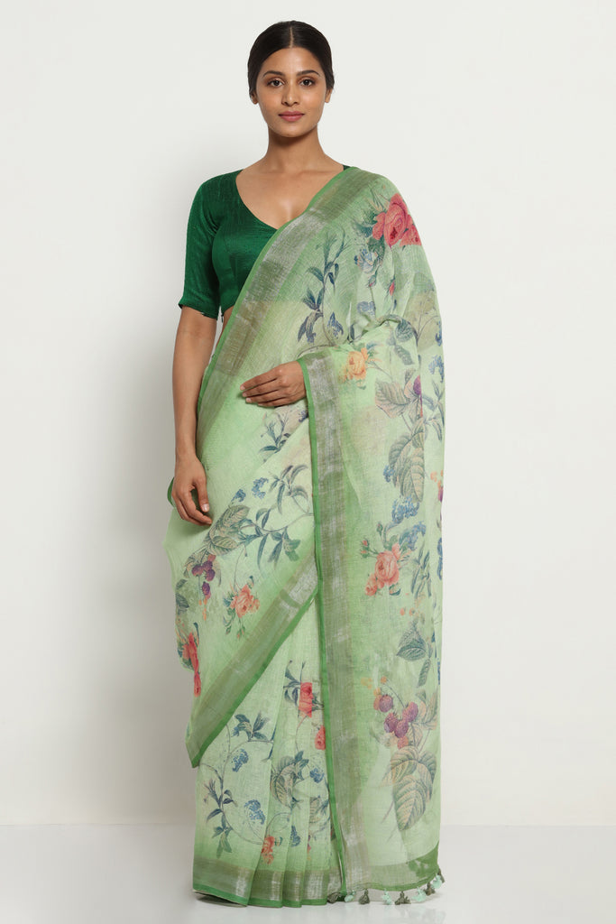 Nile Green Pure Linen Saree with All Over Floral Print and Silver Zari Border