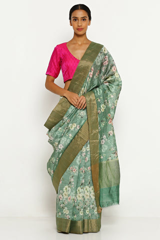 Dark Green Pure Dupion Chinon Silk Saree with All Over Floral Print