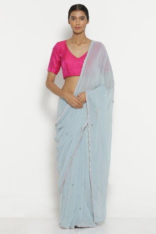 Light Blue Pure Chiffon Saree with All Over Traditional Mukaish Work and Gota Patti Edging