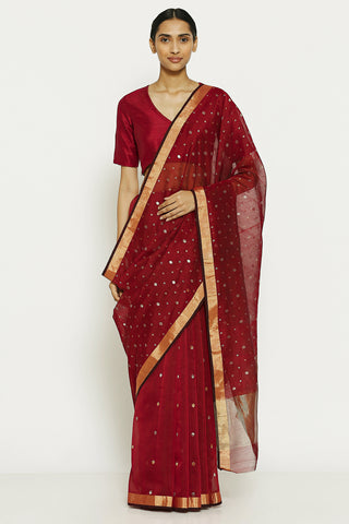 Deep Maroon Handloom Pure Silk Cotton Chanderi Saree with All Over Traditional Gold Motifs