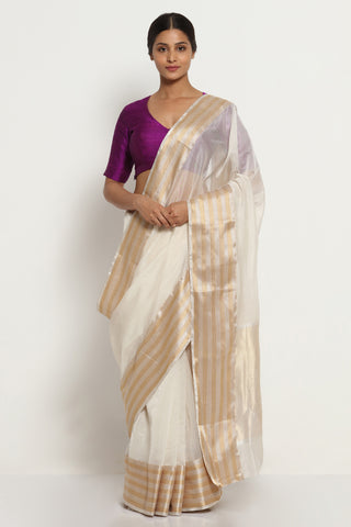 White Handloom Silk Cotton Chanderi Saree with Silver Gold Border