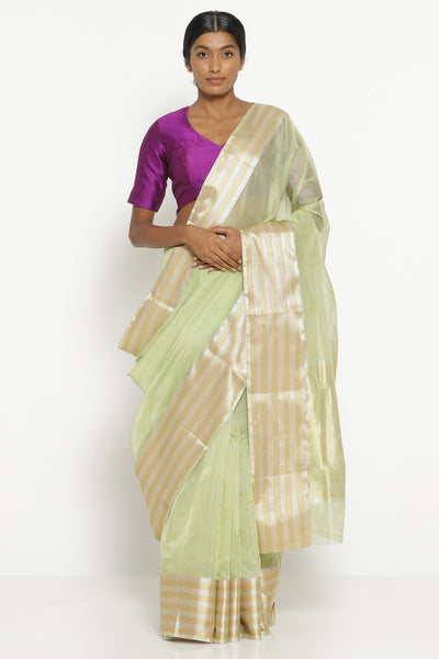 Via East sage green handloom silk cotton chanderi saree with gold and silver woven border